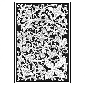 Carved openwork pattern. indonesia motif. floral illustration.