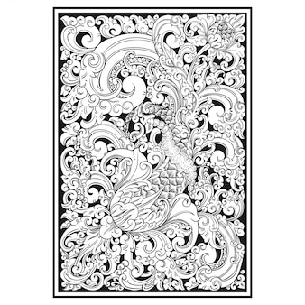 Carved openwork pattern. indonesia motif