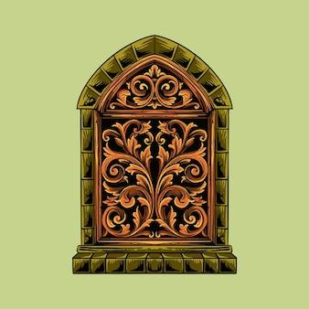 ジャワの装飾品に典型的な彫刻が施された窓