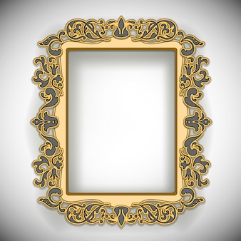 Carved wooden frame isolated