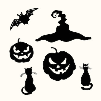 Carving face pumpkin lantern, black cat, witch hat and bat halloween stencil isolated on white