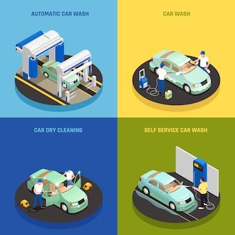 Значки концепции мойки машин установленные с символами автомойки самообслуживания изометрическими изолировали