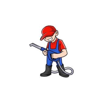 Carwash mascot service washer cleaner workman automobile