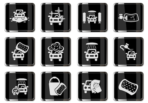 Carwash pictograms in black chrome buttons. icon set for your design. vector icons