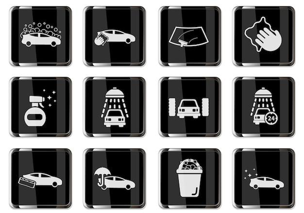 Пиктограммы автомойки на черных хромированных кнопках. набор иконок для вашего дизайна. векторные иконки