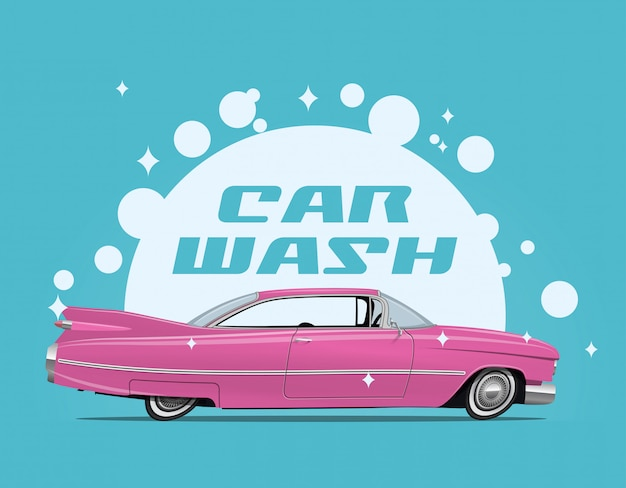 Carwash service concept illustration with side view cartoon retro pink car and white soap bulbs and car wash caption.
