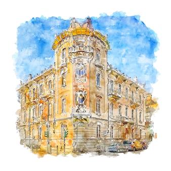The casa fenoglio italy watercolor sketch