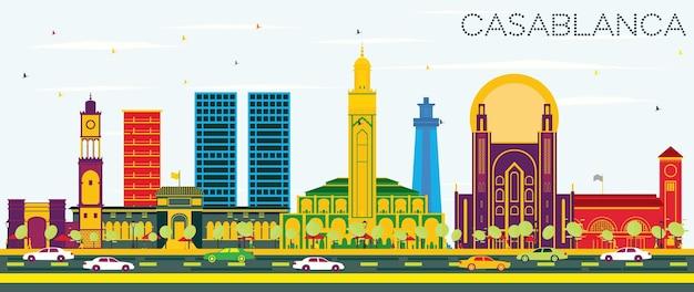 色の建物と青い空とカサブランカモロッコの街のスカイライン。ベクトルイラスト。歴史的な建築とビジネス旅行と観光の概念。ランドマークのあるカサブランカの街並み。