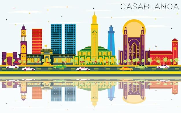色の建物、青い空と反射とカサブランカモロッコの街のスカイライン。ベクトルイラスト。歴史的な建築とビジネス旅行と観光の概念。ランドマークのあるカサブランカの街並み