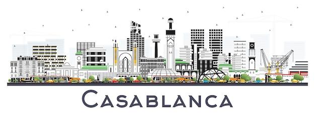 白で隔離される色の建物とカサブランカモロッコの街のスカイライン。ベクトルイラスト。歴史的建造物との出張とコンセプト。ランドマークのあるカサブランカの街並み。