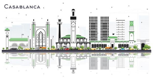 灰色の建物と白いベクトルで分離された反射とカサブランカモロッコの街のスカイライン
