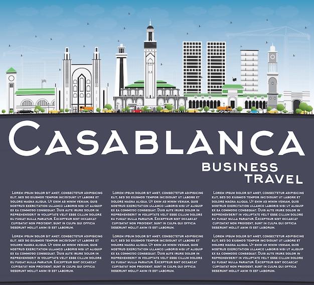 Casablanca skyline with gray buildings, blue sky and copy space.