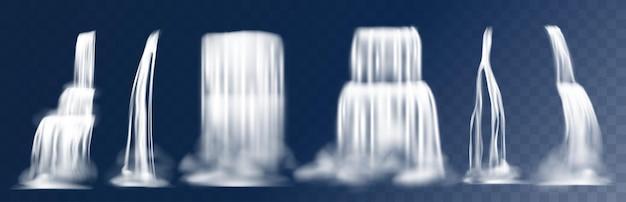 Каскадный водопад. реалистичные 3d падающие горные потоки с туманом, поток воды с вкраплениями. вектор природные водопады, изолированные на прозрачном фоне для декоративных пейзажей