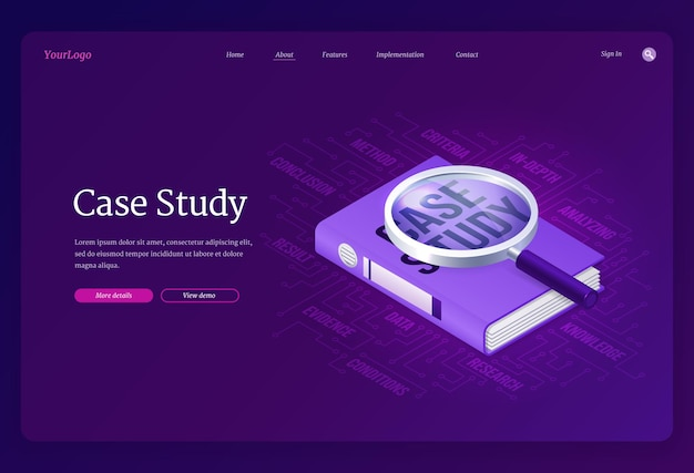 Case study banner. concept of research and analysis business information. landing page template