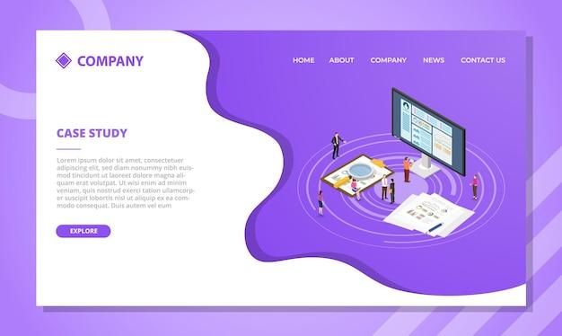 아이소 메트릭 스타일 벡터 일러스트와 함께 웹 사이트 템플릿 또는 방문 홈페이지 디자인에 대한 사례 연구 개념