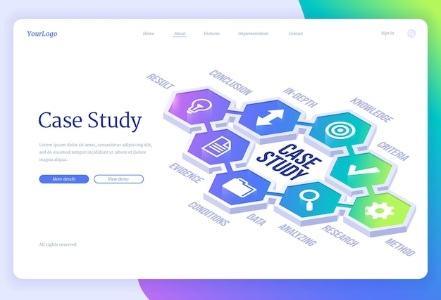 Case study isometric landing page business information research and analysis education and knowledges methods and criterias studying project development methodology concept web banner