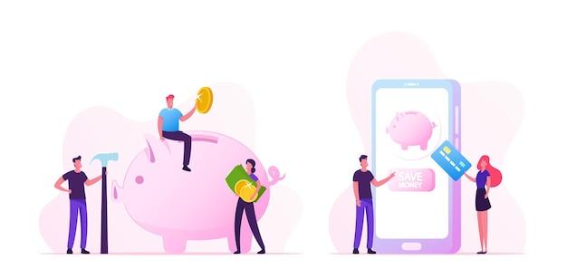 현금 및 돈 절약 개념입니다. 신용 카드가 있는 비즈니스 사람들은 거대한 스마트폰에 서서 예금 거래를 합니다. 작은 남녀 캐릭터는 돼지 저금통 만화 평면 벡터 일러스트 레이 션에 동전을 넣어