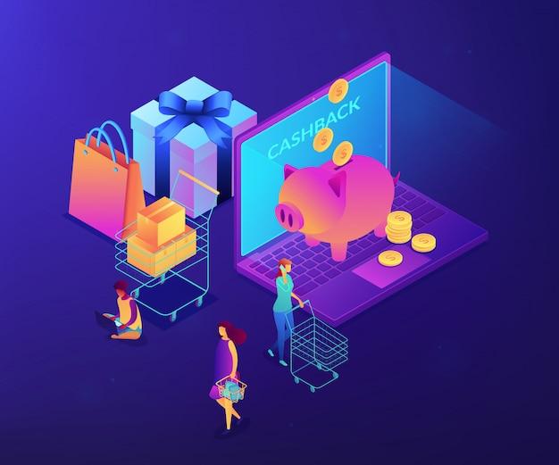 Cash back изометрическая 3d концепция иллюстрации.