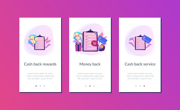 Cash back app interface template