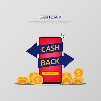 キャッシュバックの概念または返金。パイルコインとボタンでキャッシュバックのイラストを始めましょう。