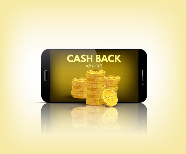Cash back conceptual illustration smart phone with stack of coins on yellow background