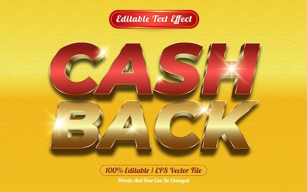 Cash back editable text effect template style