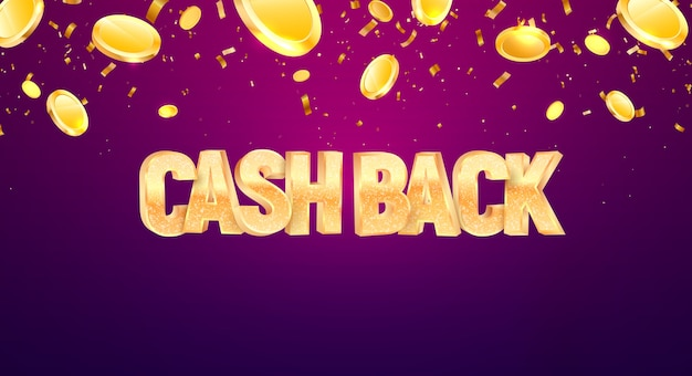 Cash back  golden text with falling down coins on dark background. refund money