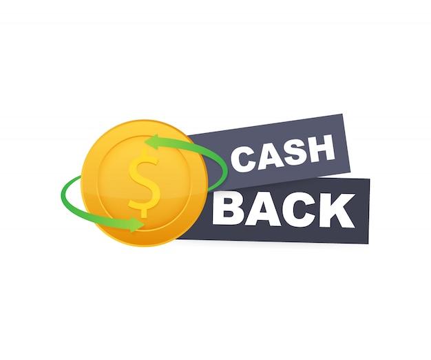 Cash back icon isolated on white