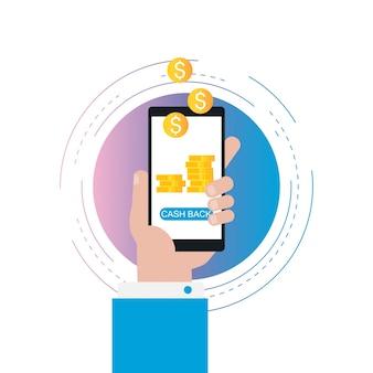 Cash back icon, money refund gradient color vector illustration design