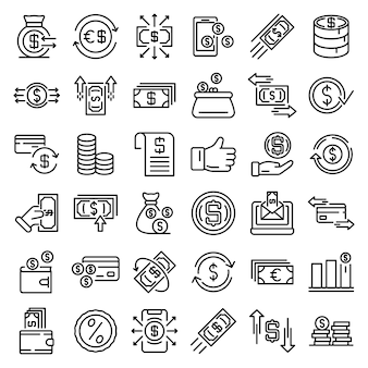 Cash back icons set, outline style