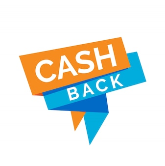 Cash back lettering on blue and orange origami ribbons.
