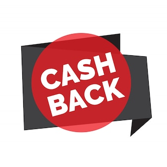 Cash back lettering in red transparent circle with grey origami ribbon.