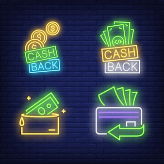 Cash back letterings, plastic card, wallet neon signs set