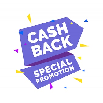 Cash back, special promotion lettering on violet origami ribbon with colorful triangles.