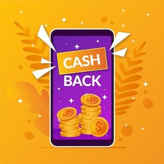 Cash back в плоском дизайне