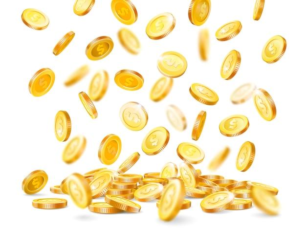 Cash coin falling down, marketing gold precious casino luck jackpot dollar coins rain