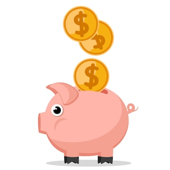 Cash coins fall into piggy bank on a white background.