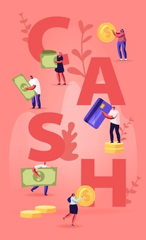 Cash concept. tiny people with huge golden coins, bills and credit cards. cartoon flat illustration