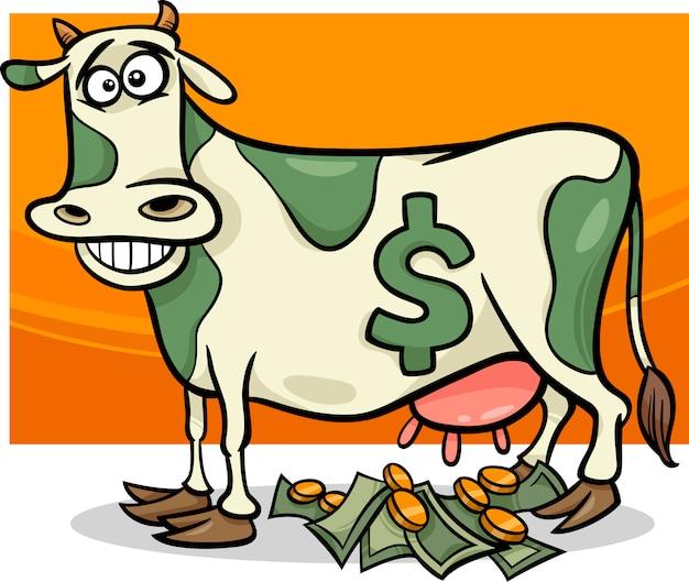 Cash cow saying cartoon illustration