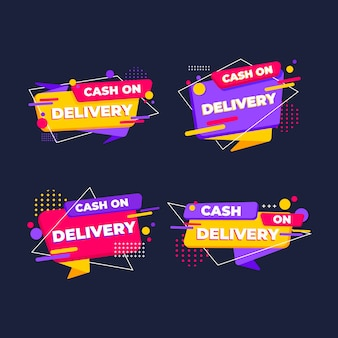 Cash on delivery badges set