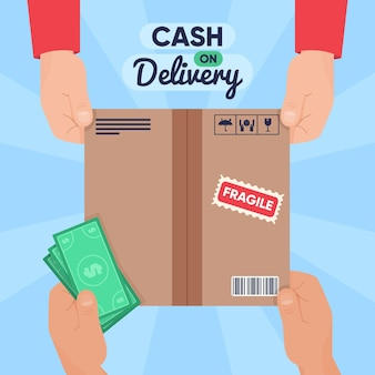 Cash on delivery box and money