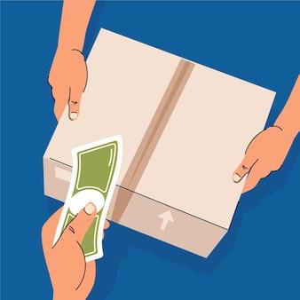 Concetto di pagamento in contrassegno illustrato