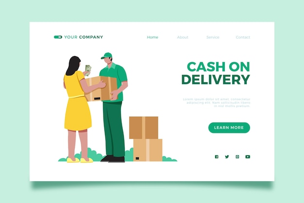 Cash on delivery landing page illustrated