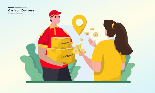 Cash on delivery or pay with cash illustration concept