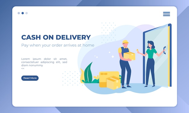 Cash on delivery, send the package home illustration on landing page template