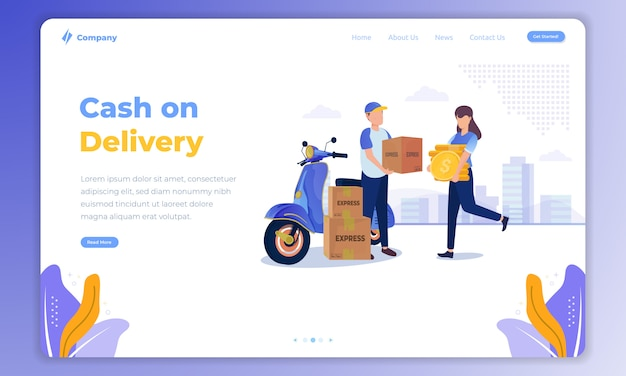 Cash on delivery service illustration on landing page concept