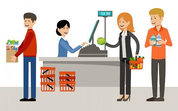 Касса в супермаркете и люди с покупками.
