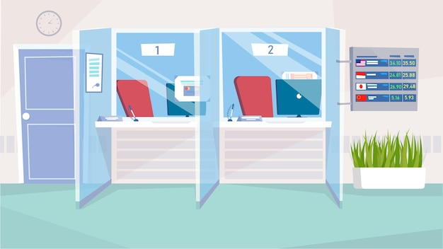 Cash desks windows at bank interior concept in flat cartoon design. cashier workplaces with computers, chairs, customer racks, board with exchange rates. vector illustration horizontal background