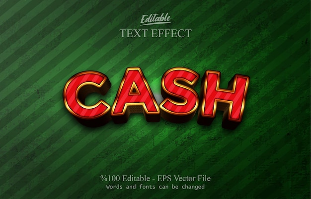Cash editable text effect
