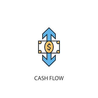 キャッシュフローの概念2色の線のアイコン。シンプルな黄色と青の要素のイラスト。キャッシュフローの概念概要シンボルデザイン